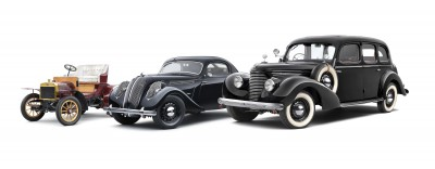 150506 Voiturette A (1905), SKODA Popular Monte Carlo (1937), SKODA Superb 3000 OHV (1939)